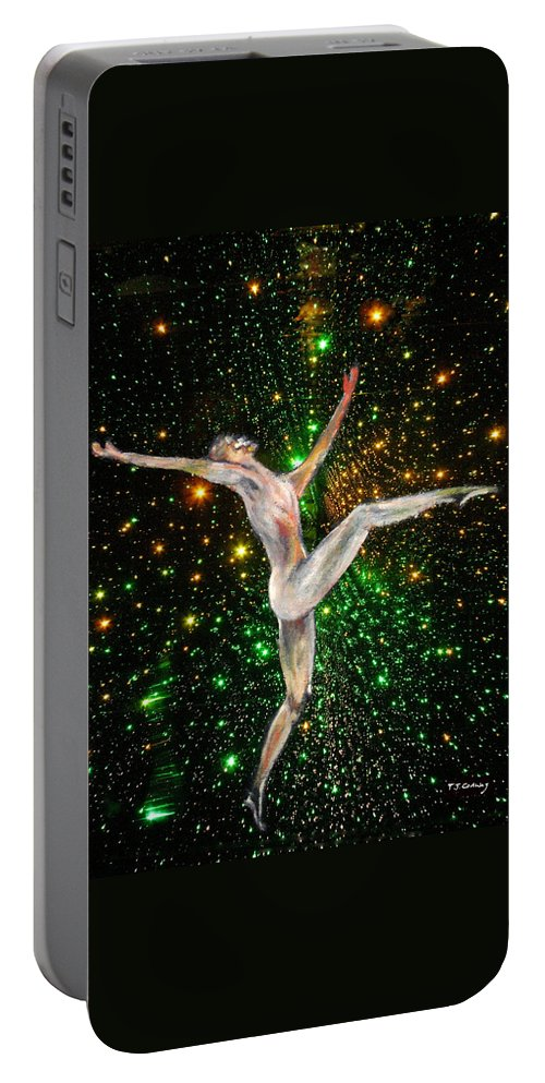 Dance Portable Battery Charger featuring the painting The Light Fantastic Dance and Stars by Tom Conway