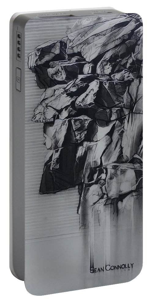 Charcoal On Paper Portable Battery Charger featuring the drawing The Old Man Of The Mountain by Sean Connolly