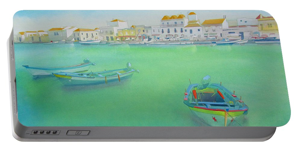 Boat Portable Battery Charger featuring the painting the old port Tavira Portugal by Charles Stuart