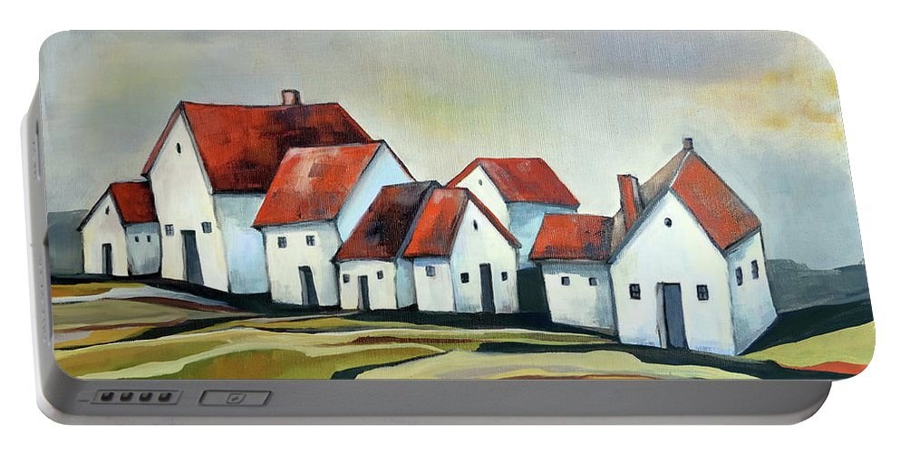 Village Portable Battery Charger featuring the painting The smallest village by Aniko Hencz