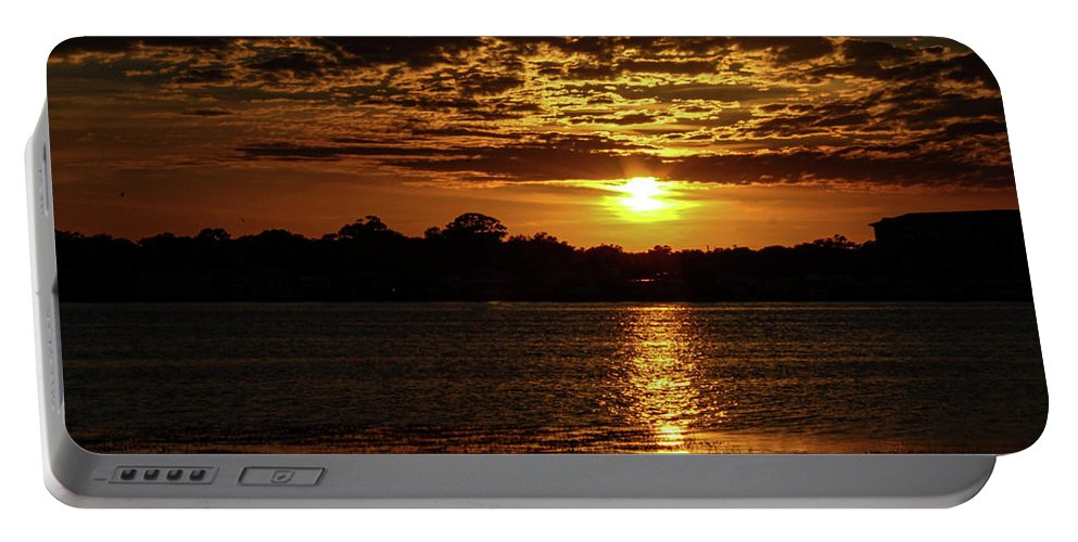 Sunset Portable Battery Charger featuring the photograph The Sunset over the Lake by Daniel Cornell