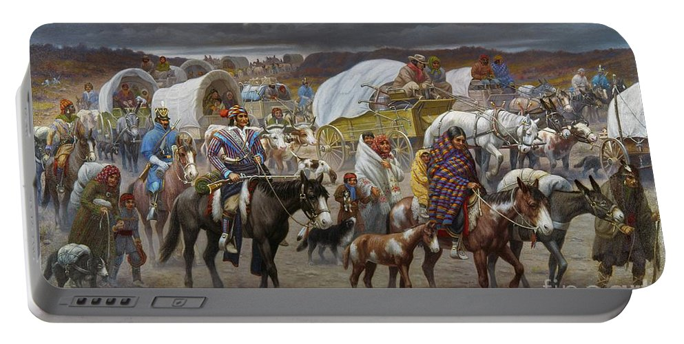 1838 Portable Battery Charger featuring the painting The Trail Of Tears by Granger
