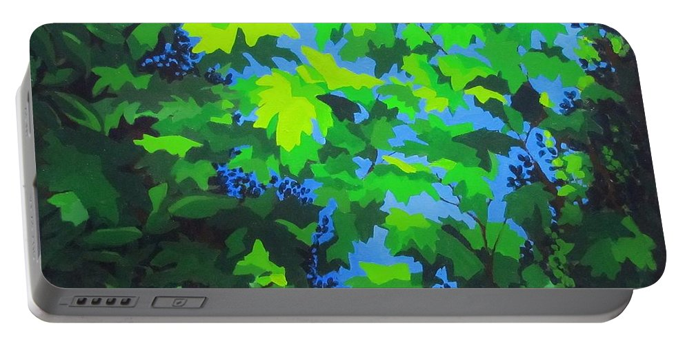 Leaves Portable Battery Charger featuring the painting Through the Leaves by Karen Ilari