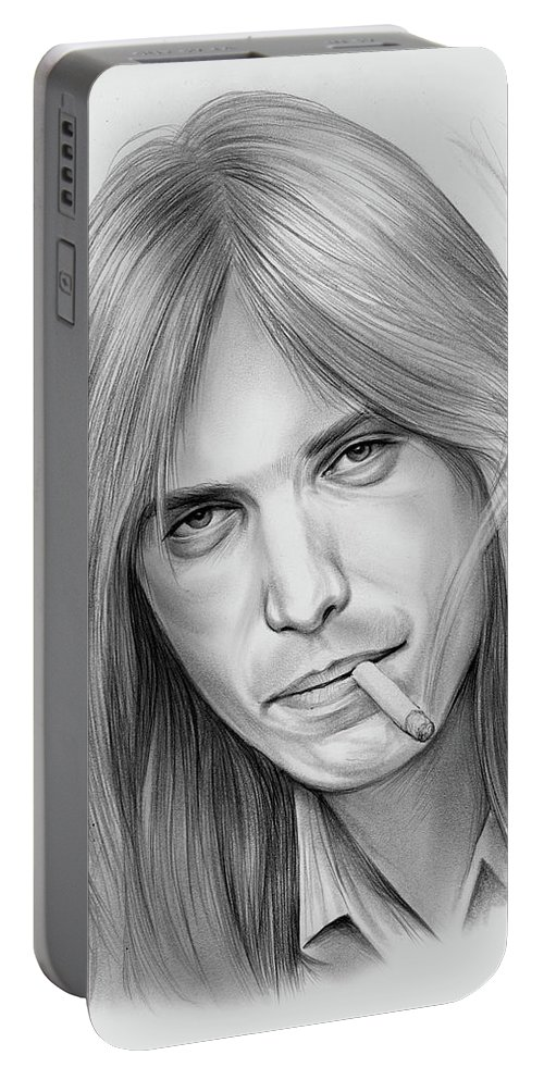 Tom Petty Portable Battery Charger featuring the drawing Tom Petty - Pencil by Greg Joens