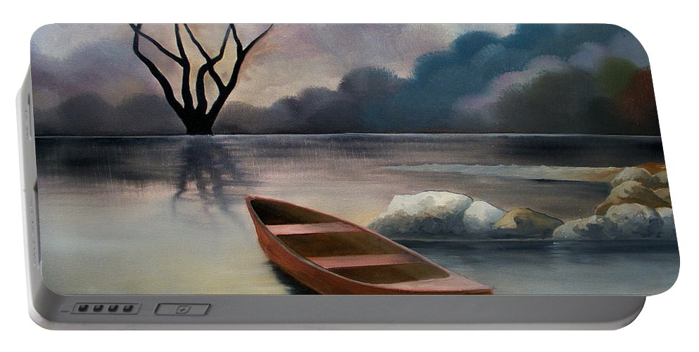 Duck Portable Battery Charger featuring the painting Tranquility by Sergey Bezhinets
