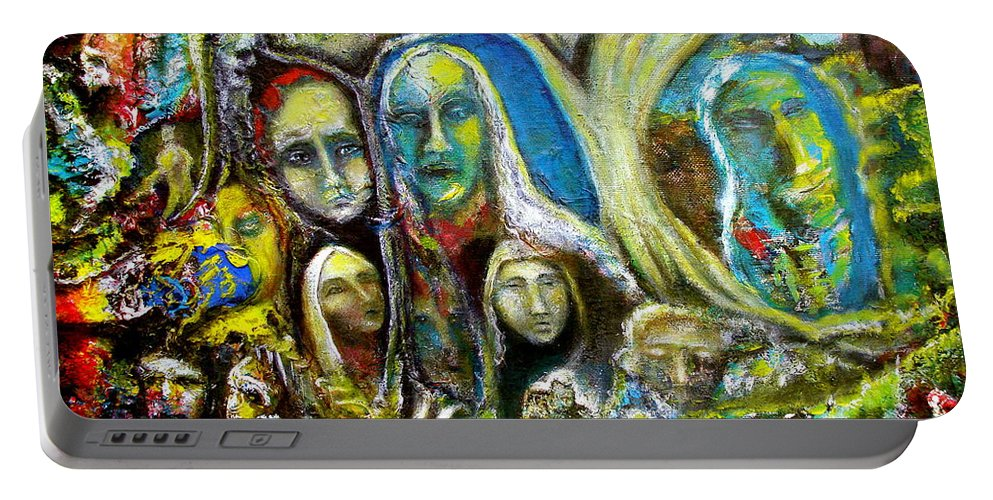 Acrylics Portable Battery Charger featuring the painting Tree People by Kicking Bear Productions