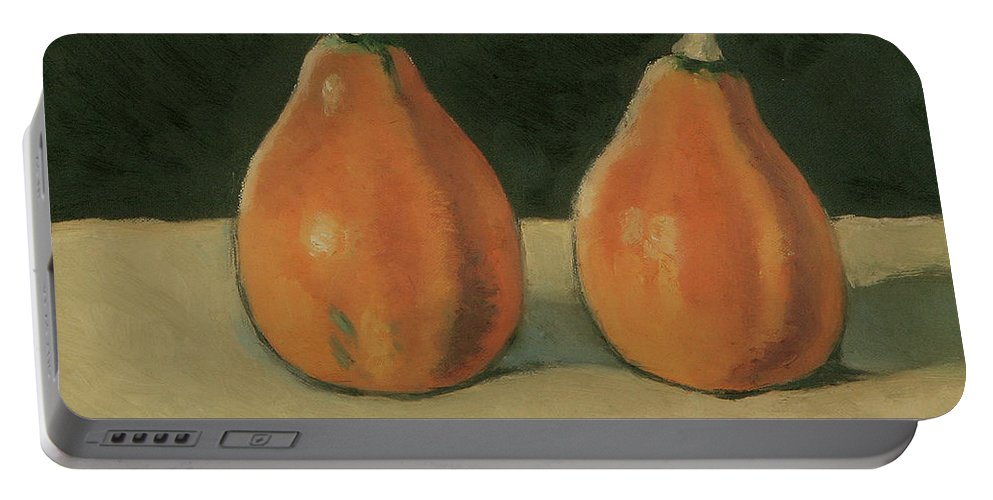 Still-life Pumpkins Orange Portable Battery Charger featuring the painting Two Orange Pumpkins by Raimonda Jatkeviciute-Kasparaviciene