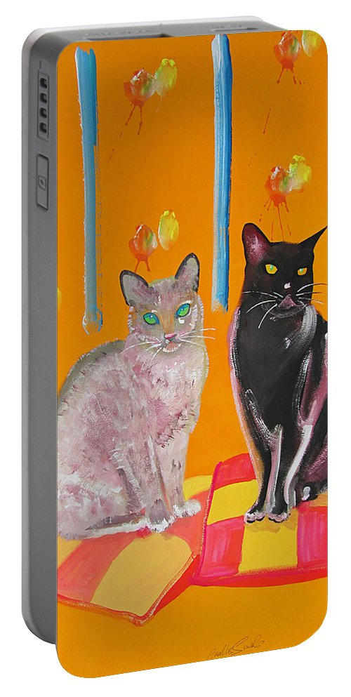 Cats Portable Battery Charger featuring the painting Two Oriental Cats by Charles Stuart