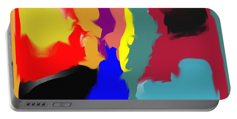 Abstract Portable Battery Charger featuring the digital art Two Peas in a Pod by Pharris Art