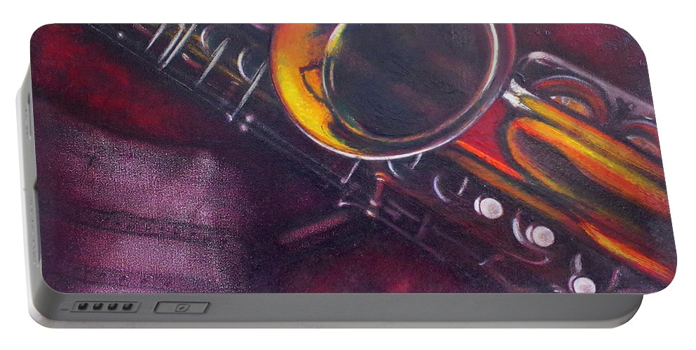 Oil Painting On Canvas Portable Battery Charger featuring the painting Unprotected Sax by Sean Connolly