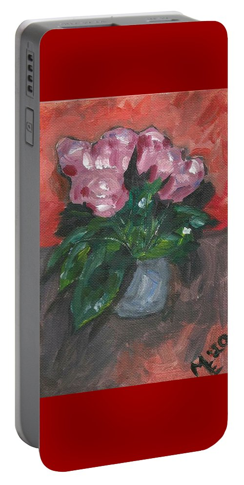 Rose Portable Battery Charger featuring the painting Vase of Roses by Monica Resinger