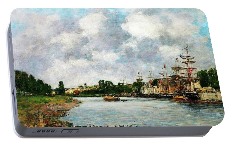 View Of The Port Of Saint Portable Battery Charger featuring the painting View Of The Port Of Saint, Valery-sur-somme - Digital Remastered Edition by Eugene Louis Boudin