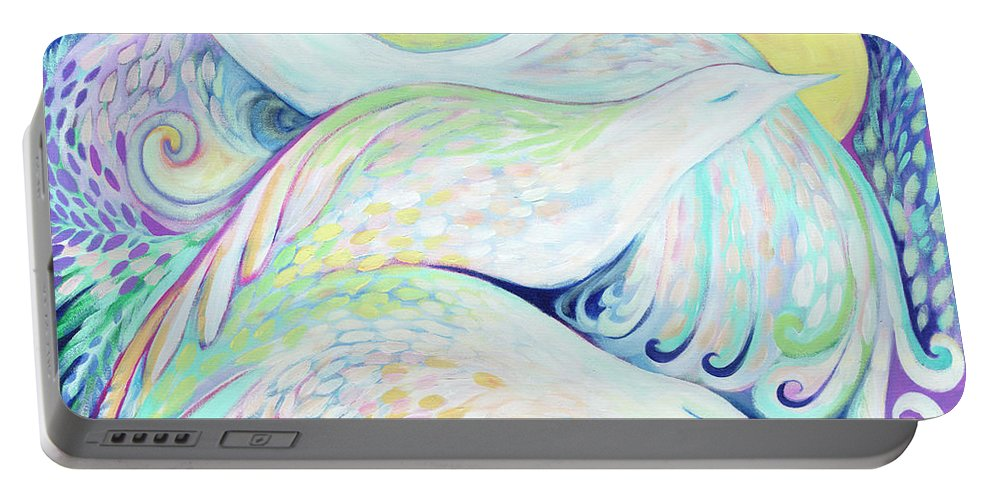 Dove Portable Battery Charger featuring the painting Visualizing Peace by Jennifer Lommers