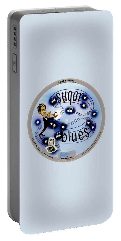 Vogue Picture Record Portable Battery Charger featuring the digital art Vogue Record Art - R 707 - P 5, Blue Logo - Square Version by John Robert Beck