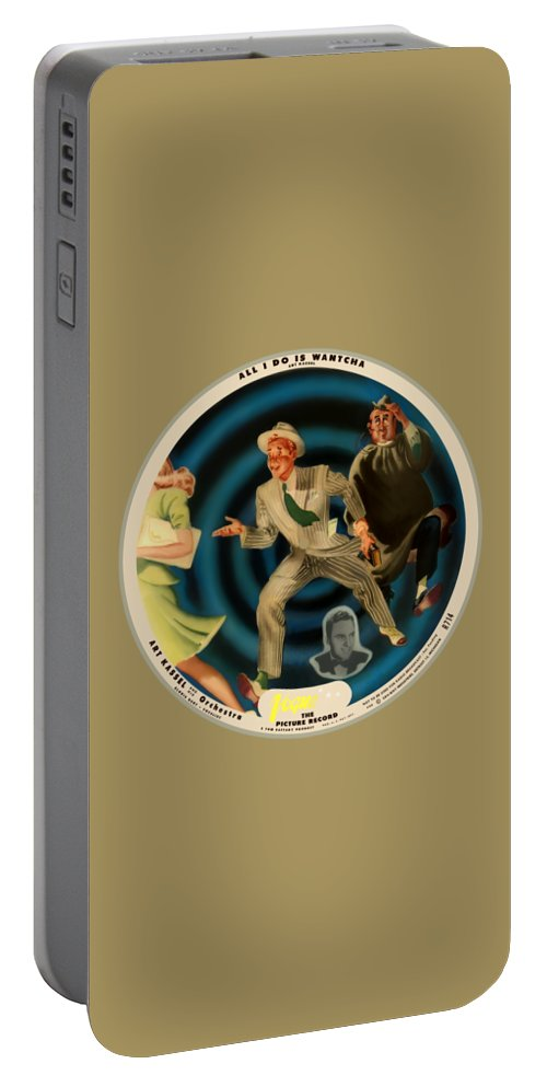 Vogue Picture Record Portable Battery Charger featuring the digital art Vogue Record Art - R 714 - P 22, Yellow Logo - Square Version by John Robert Beck