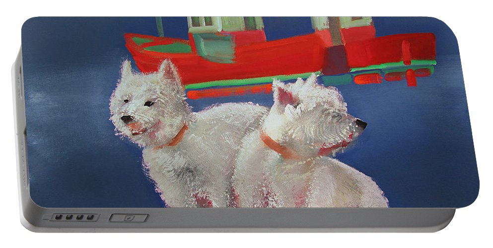 White Terriers Portable Battery Charger featuring the painting Walberswick Red Trawlers by Charles Stuart