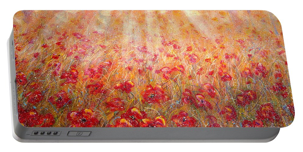 Landscape Portable Battery Charger featuring the painting Warm Sun Rays by Natalie Holland