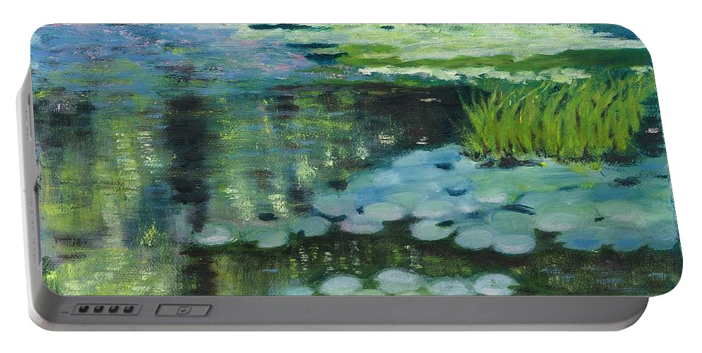 Millpond Water Reflections Portable Battery Charger featuring the painting Waterlillies on the Mill Pond by Paula Emery