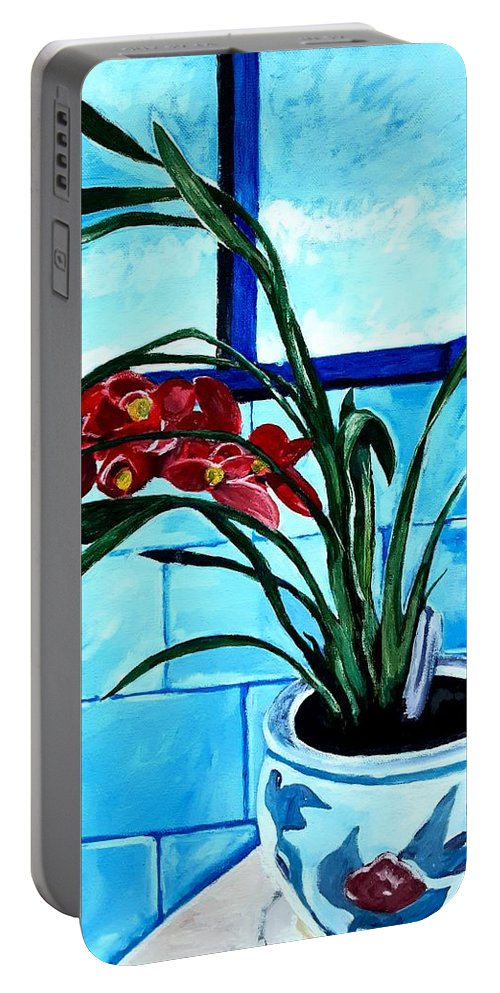 Still Life Portable Battery Charger featuring the painting Welcome Flower by Andrew Johnson