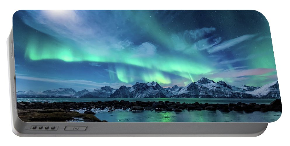 Moon Portable Battery Charger featuring the photograph When the moon shines by Tor-Ivar Naess