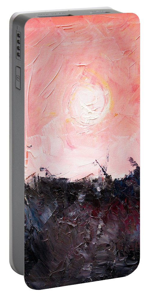 Duck Portable Battery Charger featuring the painting White Sun by Sergey Bezhinets