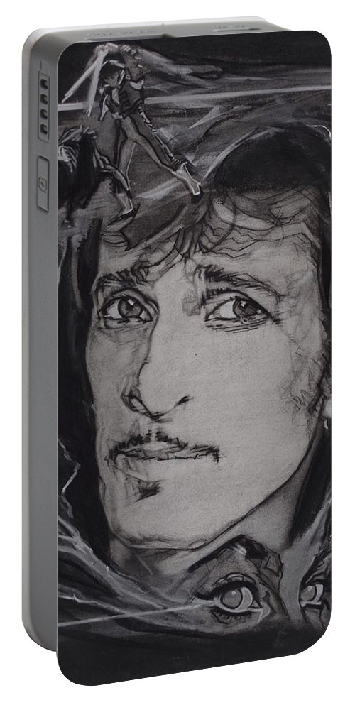 Charcoal On Paper Portable Battery Charger featuring the drawing Willy DeVille - Coup de Grace by Sean Connolly
