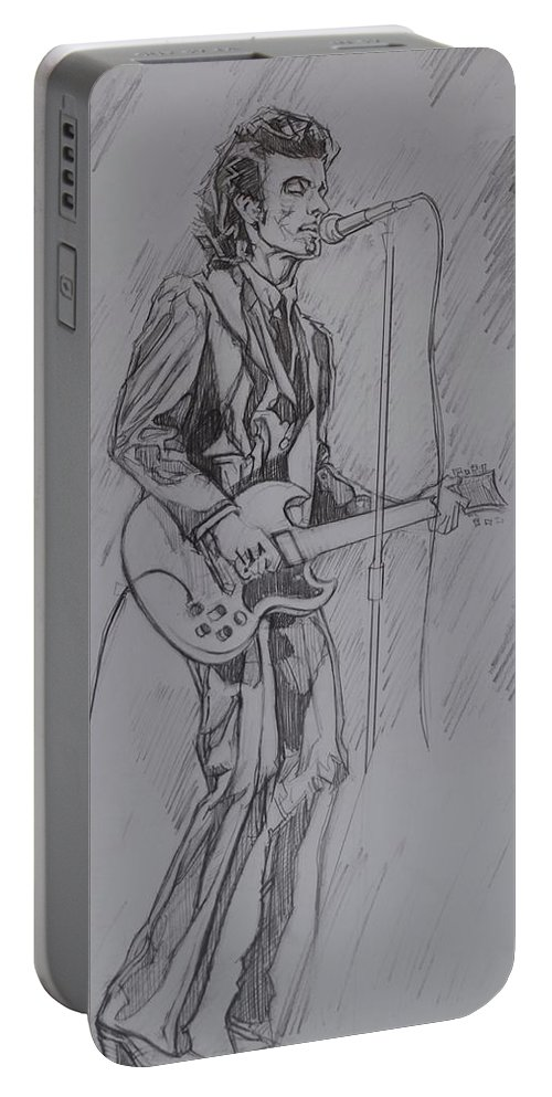 Pencil Portable Battery Charger featuring the drawing Willy DeVille - Steady Drivin' Man by Sean Connolly
