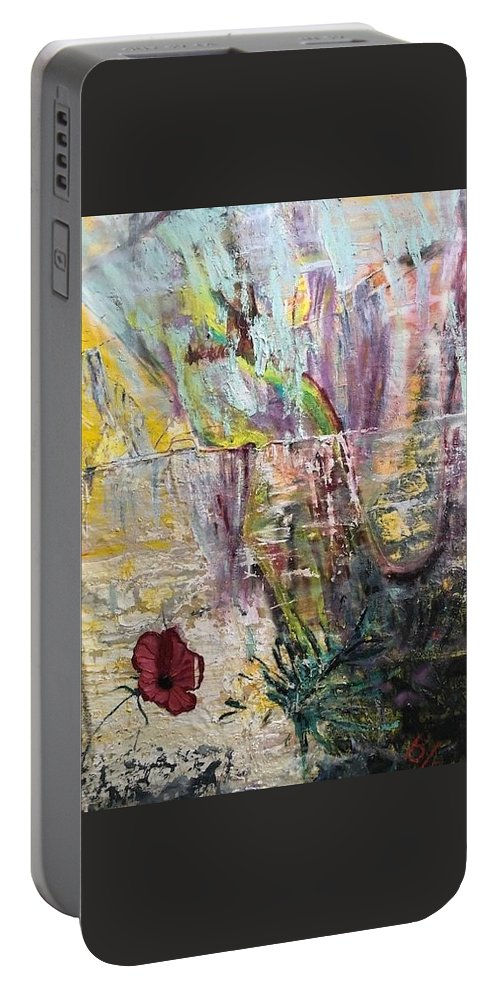 Flower Portable Battery Charger featuring the painting Sunset on Wilmington  by Peggy Blood