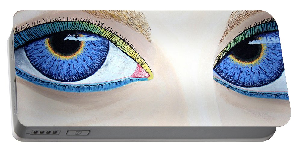 Eye Catching Portable Battery Charger featuring the painting Window I by Dean Stephens