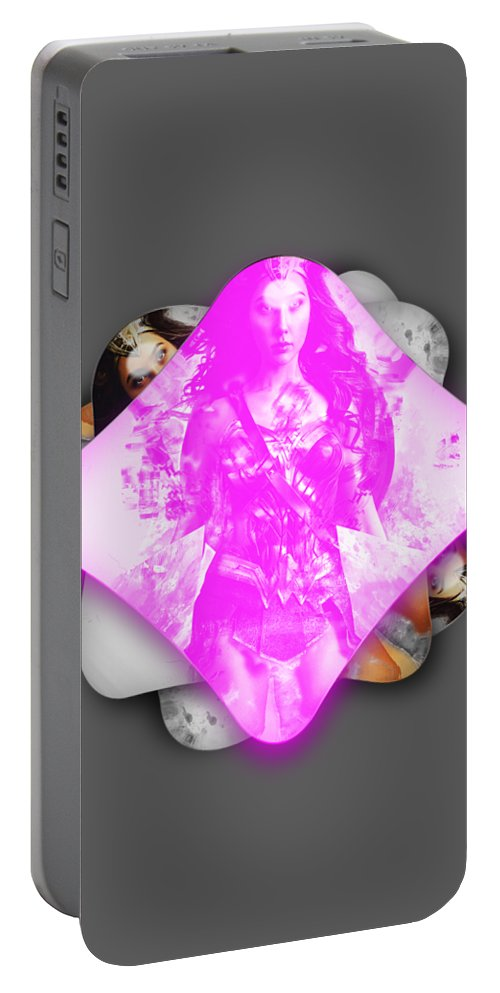 Wonder Woman Portable Battery Charger featuring the mixed media Wonder Woman Power by Marvin Blaine