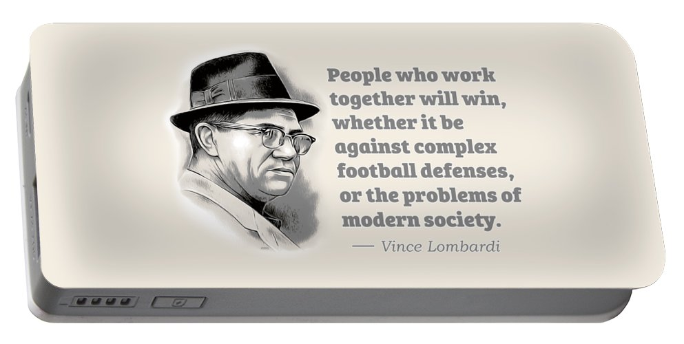 Vince Lombardi Portable Battery Charger featuring the digital art Working Together by Greg Joens