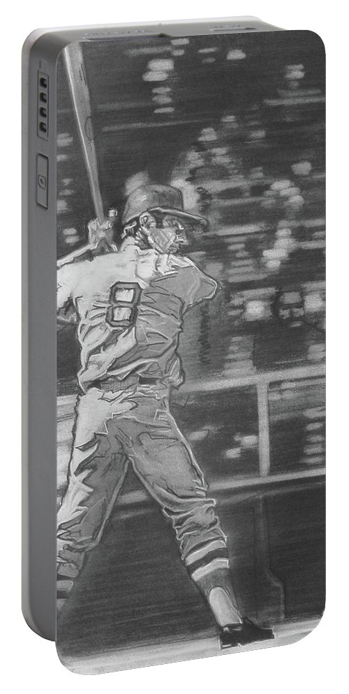 Charcoal On Paper Portable Battery Charger featuring the drawing Yaz - Carl Yastrzemski by Sean Connolly