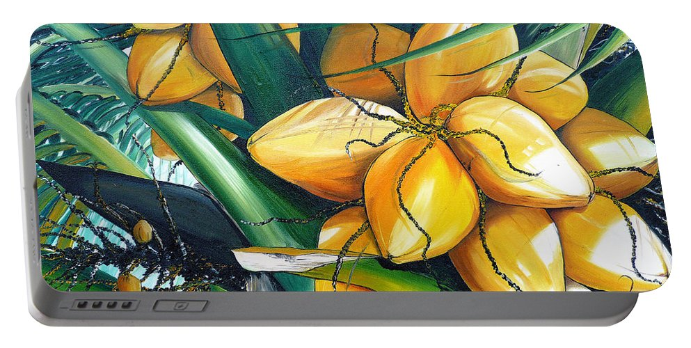 Coconut Painting Botanical Painting  Tropical Painting Caribbean Painting Original Painting Of Yellow Coconuts On The Palm Tree Portable Battery Charger featuring the painting Yellow Coconuts by Karin Dawn Kelshall- Best