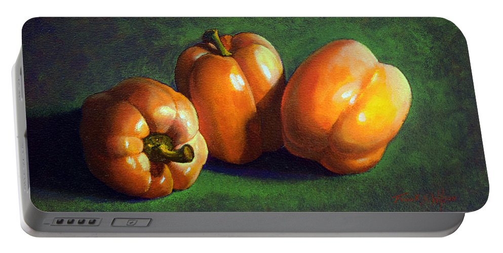 Yellow Peppers Portable Battery Charger featuring the painting Yellow Peppers by Frank Wilson