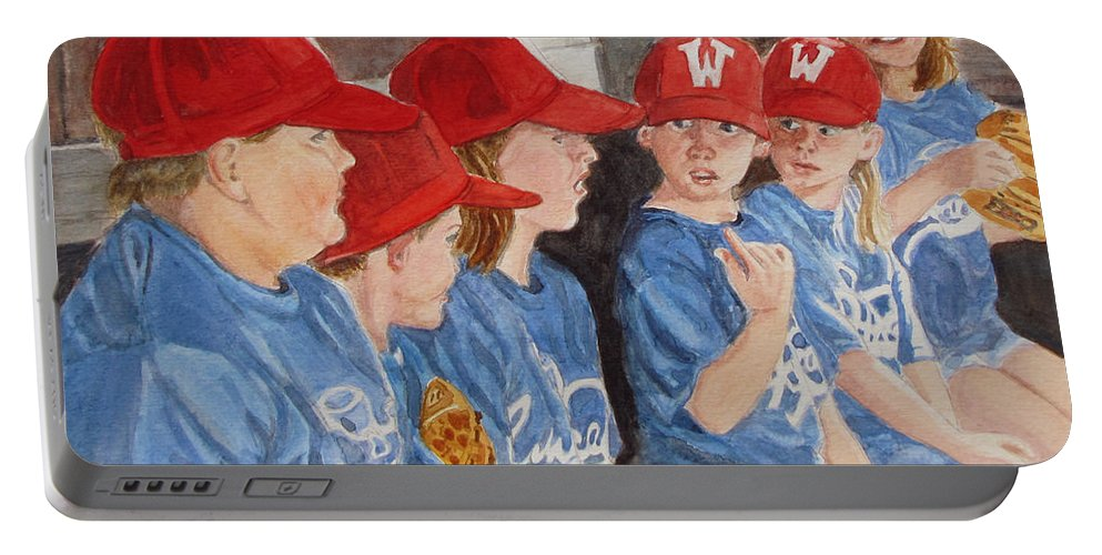 Kids Portable Battery Charger featuring the painting Yer Up by Karen Ilari