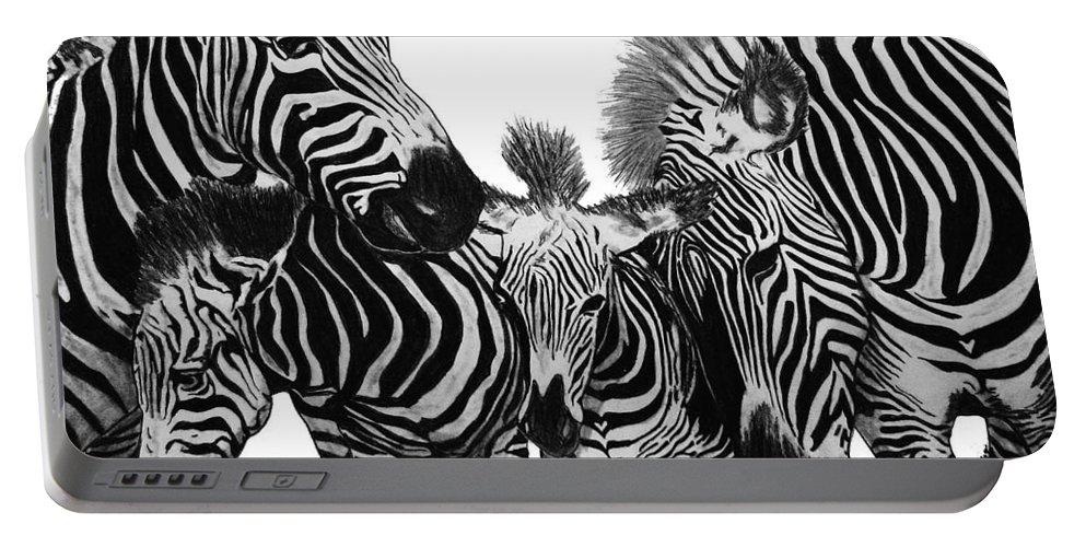Zebra Nudge Portable Battery Charger featuring the drawing Zebra Nudge by Peter Piatt