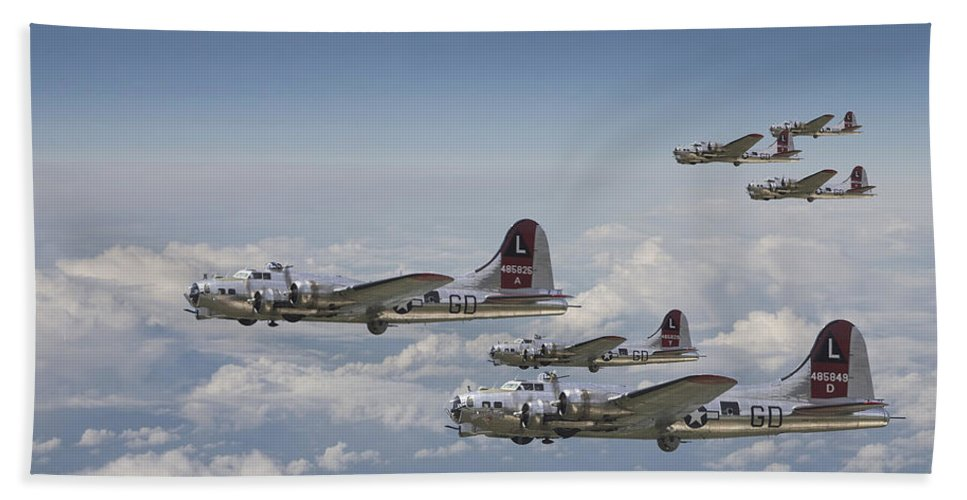 Aircraft Beach Towel featuring the digital art 381st Group Outbound by Pat Speirs