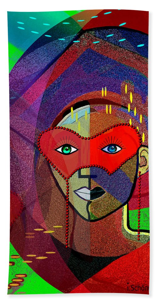 394 Challenging Woman With Mask Beach Towel featuring the painting  394 - Challenging Woman With Mask by Irmgard Schoendorf Welch