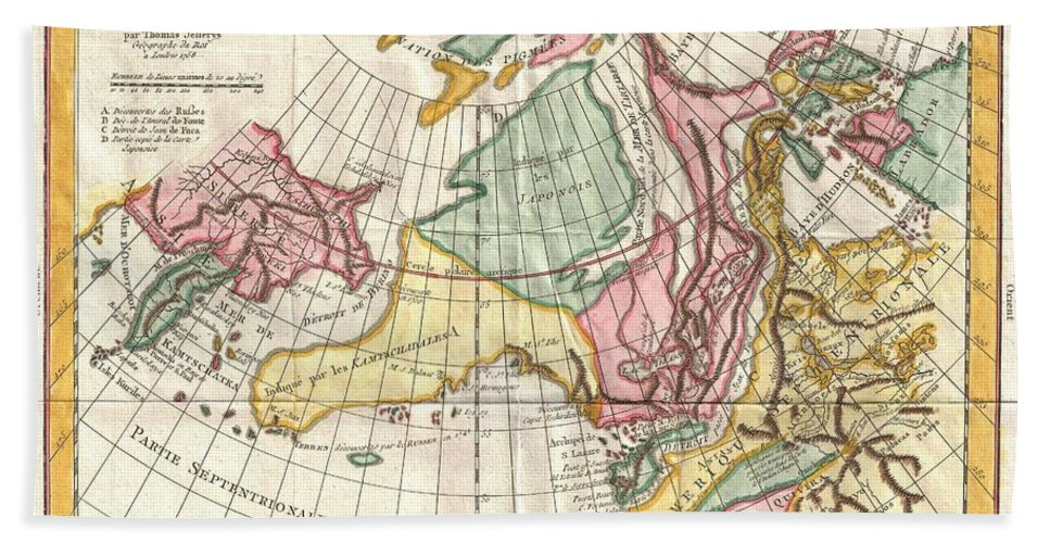 Beach Towel featuring the photograph A Truly Fascinating 1772 Map Of The Northwestern Parts Of North America By Robert De Vaugondy And T by Paul Fearn