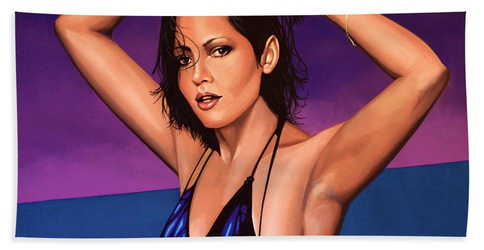 Barbara Carrera Beach Towel featuring the painting Barbara Carrera Painting by Paul Meijering