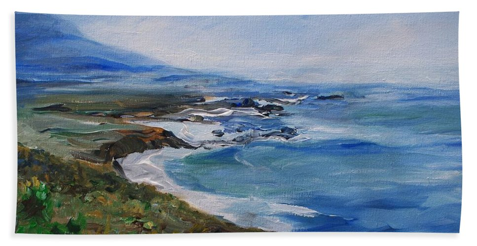 California Coast Beach Towel featuring the painting Big Sur Coastline by Eric Schiabor
