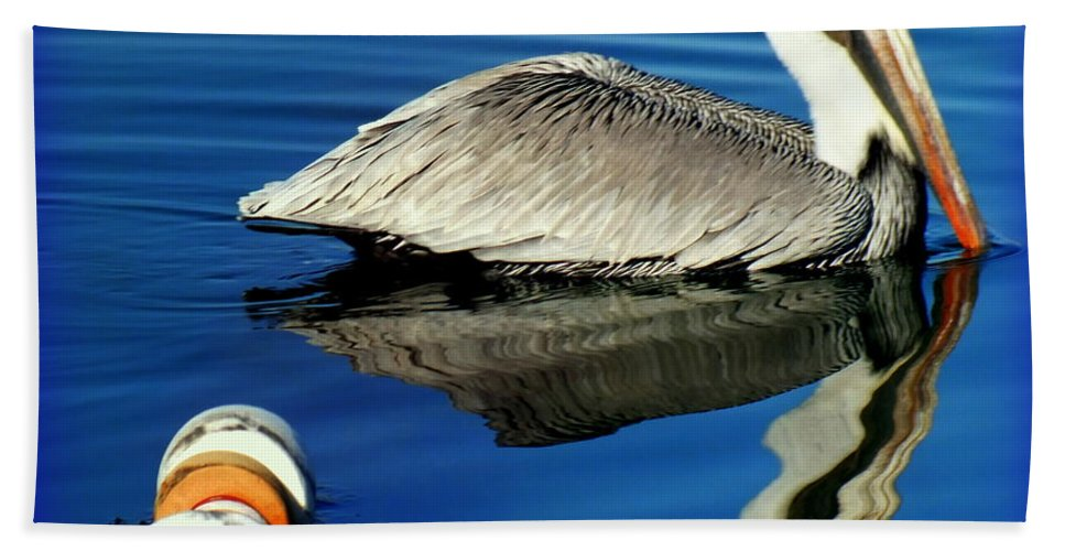 Pelicans Beach Towel featuring the photograph Blues Pelican by Karen Wiles