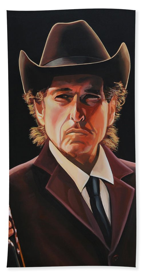 Bob Dylan Beach Towel featuring the painting Bob Dylan 2 by Paul Meijering