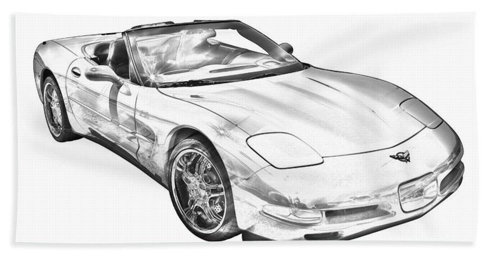 C5 Corvette Convertible Muscle Car Illustration Beach Towel For Sale