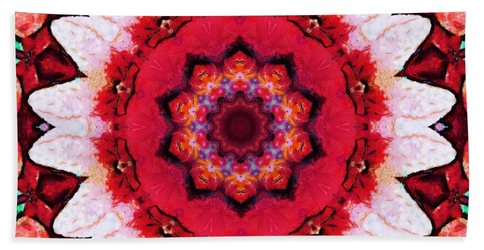 Mandala Beach Towel featuring the mixed media Floral Abundance by SiriSat Julia Claire