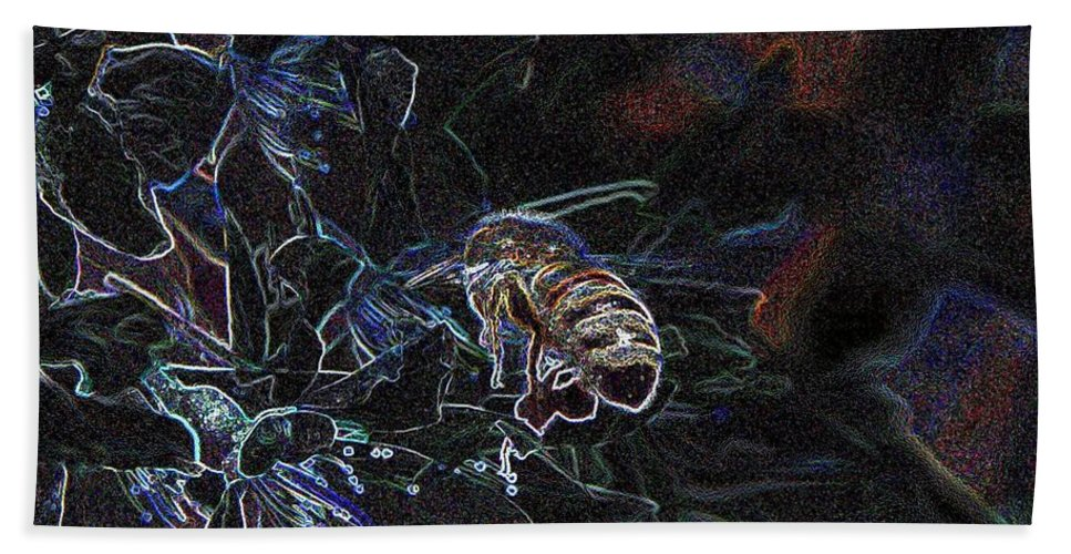 Beach Towel featuring the photograph Glowing Bee by Jeff Swan