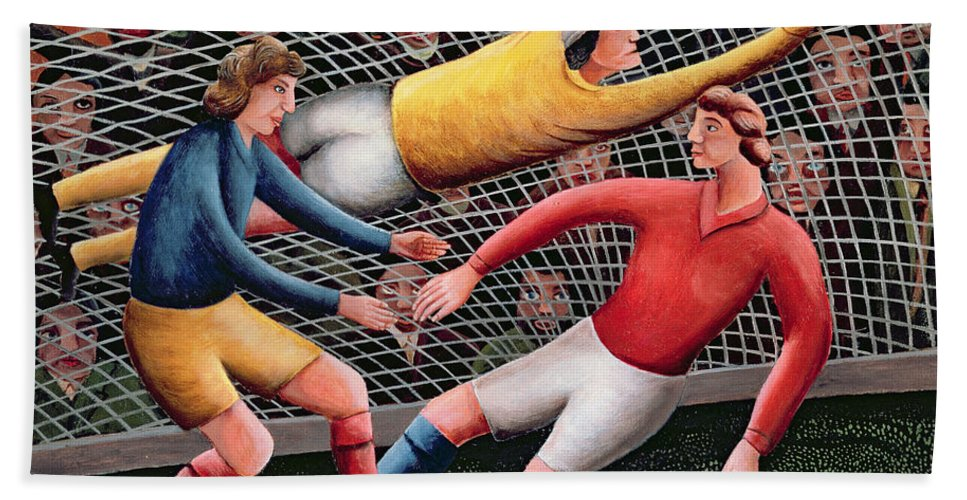 Football; Nets; Goal; Keeper; Crowd; Tackle Beach Towel featuring the painting It's A Great Save by Jerzy Marek