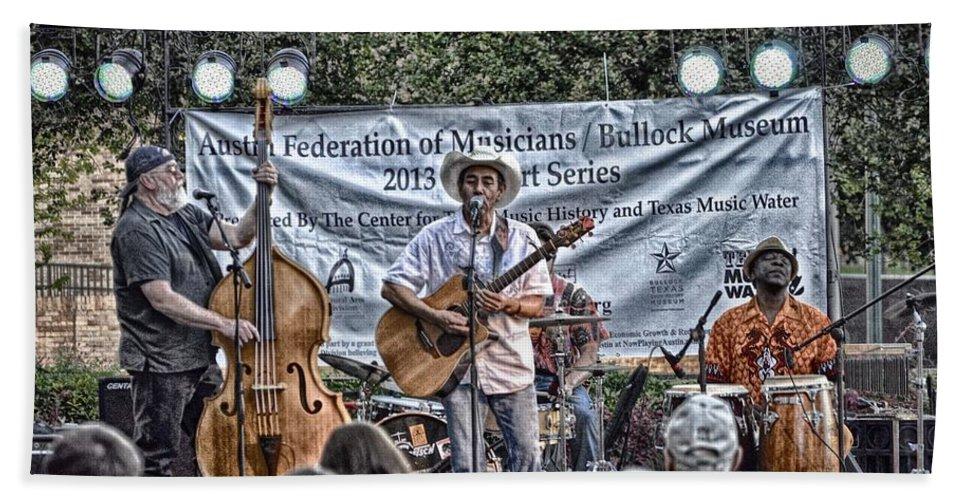 Austin Texas Music Print Beach Towel featuring the photograph John Arthur Martinez Band by Kristina Deane