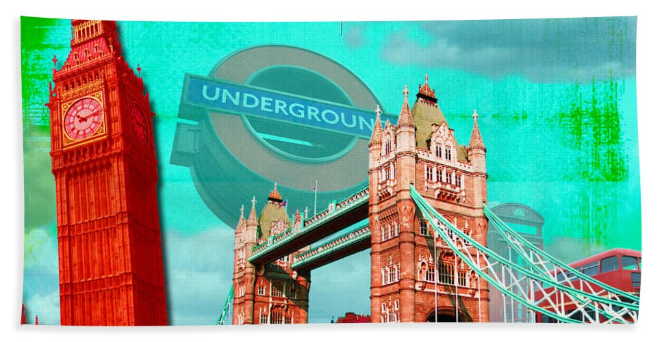 London Beach Towel featuring the digital art London by Jan Raphael