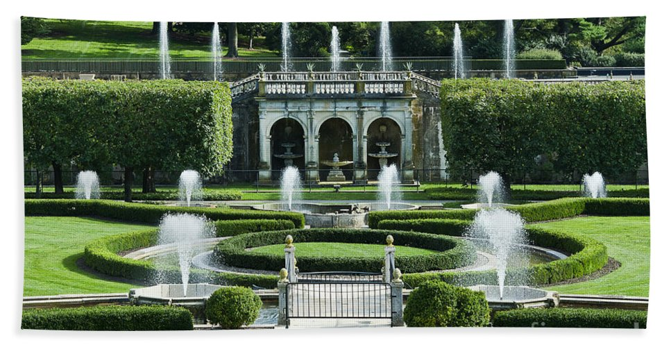 Conservatory Beach Towel featuring the photograph Longwood Gardens Fountains by John Greim